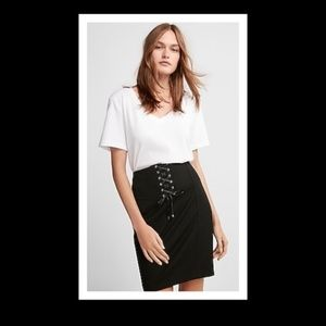 EXPRESS LACE UP CORSET PENCIL SKIRT BLACK 4 NEW